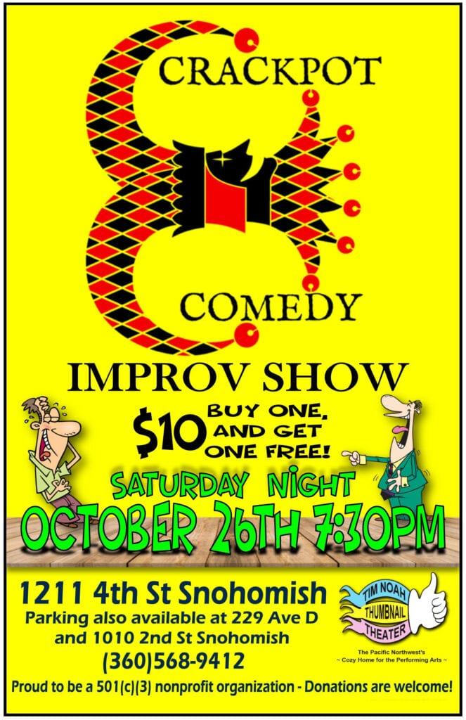 Crackpot Comedy Improv Show Poster for 10-26-19 Show